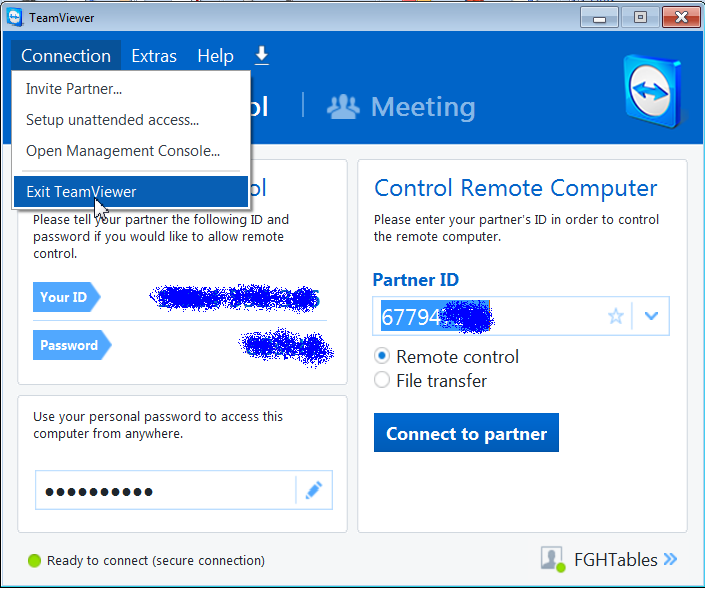 Team Viewer Connection Exit